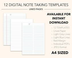 5 Tab Divider Style Digital Notebook Blue Lined Paper Grid Paper