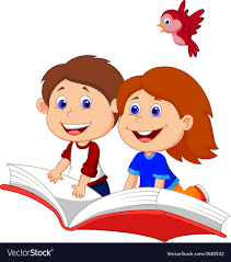 cartoon boy and flying on a book vector image