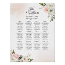 Peach Green Floral Wedding Seating Chart Zazzle Com