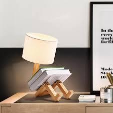 Giá Đỡ Đèn Bàn Bằng Gỗ Hình Robot, Đèn Bàn Gỗ Nghệ Thuật Vải Hiện Đại Đèn  Ngủ Phòng Học Trong Nhà Phòng Khách