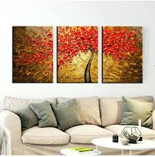 3 piece paintings acrylic decorative high quality 3 piece canvas wall art tree abstract knife oil