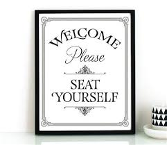 printable bathroom art. Contemporary Bathroom Bathroom Wall Art PRINTABLE Please Seat Yourself Sign  Restaurant Throughout Printable Art A