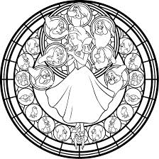 Disney Snow White Stained Glass Coloring Page Snow White And The