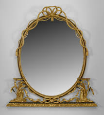 oval mirror frame. Ebonized Trimmed Oval Mirror Framed In A Carved Gilt Rope With Bow Know Top And Flanked Dolphin Support Side Shelves 060458 English -\u003e Georgian Frame I