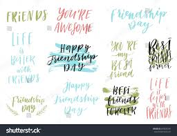 Happy Friendship Day Vector Lettering Colorful Stock Vector Royalty