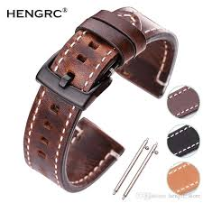 newest 18mm 20mm 22mm genuine leather watchband belt manual men thick brown black watch band strap buckle accessories high quality leather watch bands