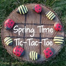 Game With Rocks And Wooden Board Ladybug and Bumble Bee TicTacToe 38