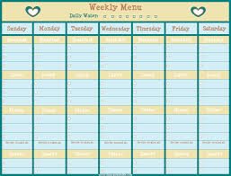 Free Weekly Menu Chart With Room To Cross Off Your Daily
