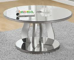 coffee table 36 dia brushed silver mirror monarch specialty i 3725