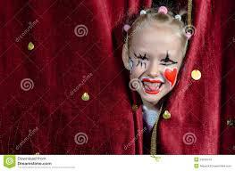 Girl Clown Face Designs Girl Wearing Clown Makeup Peeking Through Curtains Stock
