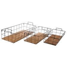 black wire metal wall basket set