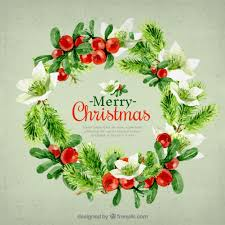 free beautiful christmas cards beautiful christmas card wreath in watercolor effect vector free