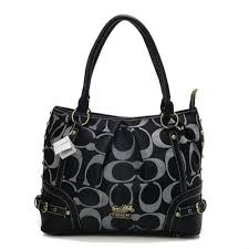 Coach Poppy In Signature Medium Black Totes AEK Outlet Online