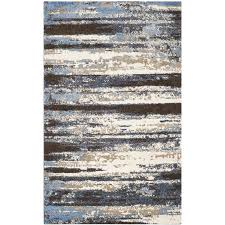 safavieh retro kingston cream blue indoor distressed area rug common 6 x 9