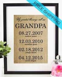 Personalized Father's Day Gift for Grandfather | Grandpa Gift | Fathers Day  Burlap Print | Grandchildren