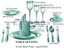 dinner table setting clipart. vector - table setting dinner clipart n