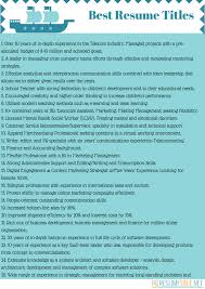 Awesome Collection Of Good Resume Titles For Monster Fantastic Fascinating What Is A Resume Title
