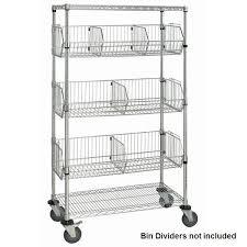 chrome wire shelf cart with wire bins
