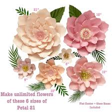 Flower Templates For Paper Flowers 6 Sizes Petal 21 Paper Flower Templates Flat Centers Bases To Create Unlimited Giant Paper Flowers For Paper Flower Wall For Wedding Birthdays