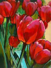 in progress painting of red tulips by lesley spanos