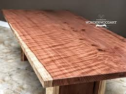 Live Edge Dine Table 106x 52 Curly Redwood Kitchen Table Office