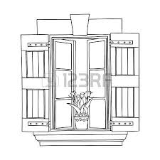 vintage window drawing. vintage window with flower in pot. vector drawing t