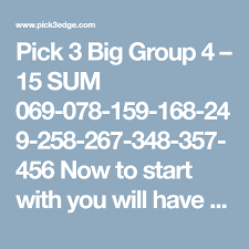 Pick 3 Frequency Chart Pick 3 Big Group 4 15 Sum 069 078 159 168 249 258 267 348