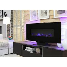 glass curved front wall mount electric fireplace in black