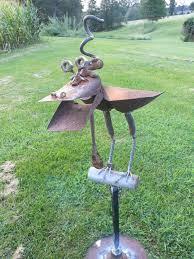 dragon yard art dragon bird scoop shovel bird feeder on a perch rusty relics metal art