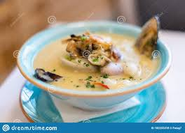 Seafood Soup Close-up. East Asian ...