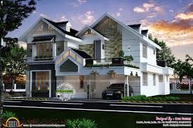 Sloping Roof Design Ideas Modern Sloped Roof Luxury House Kerala Home Design And