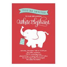 white elephant gift invitation. Contemporary Elephant White Elephant Gift Exchange Holiday Party Invite On Invitation Zazzle