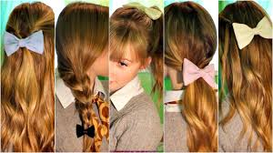 Bows In Hair Style 6 Cute Easy & Quick Heatless Hairstyles Using Bows Back To 7396 by wearticles.com