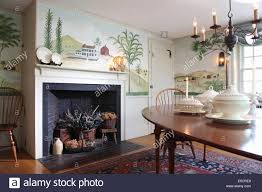 Dining Room With Wall Mural Of Trees And Countryside In Folk Art - Art for the dining room