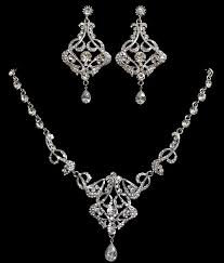 art deco bridal jewelry statement necklace chandelier earrings swarovski crystal pearl jewelry carmen silver a