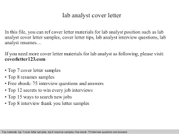 Lab Analyst Lab Analyst Cover Letter
