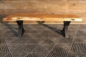 natural color furniture. Acacia Live Edge Wood Bench With Black X-shaped Legs/Natural Color - Wazo Natural Furniture