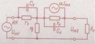 Реферат Анализ и моделирование биполярных транзисторов  Проще всего рассмотреть это влияние на эквивалентной схеме с генератором тока показанной для схемы ОБ на рис 8 1