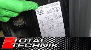Where To Find The Correct Tyre Pressure Settings Audi A4 S4 Rs4 B6 B7 Total Technik