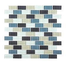 sline brick 12 in x 12 in x 8 mm glass mosaic wall tile