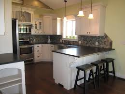 Small Picture Thompson Kitchen White Cabinets with Absolute Black Leather