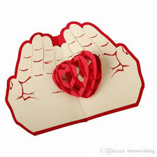 Valentines Day Gift Love In The Hand 3d Pop Up Greeting Card
