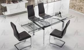 american eagle furniture tl 1134s c clear glass top extendable dining table chrome legs