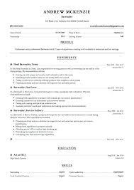Examples Of Bartending Resumes - Sarahepps.com -