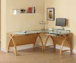 image of a curve pc201 corner desk package in oak and white glass using the