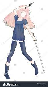 Anime ninja girl holding a dagger and a sword