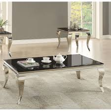 coaster furniture black glass top coffee table with chrome base com