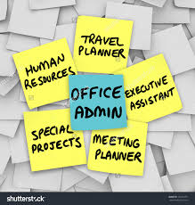 many duties modern office administrator words stock illustration the many duties of the modern office administrator words written on sticky notes including