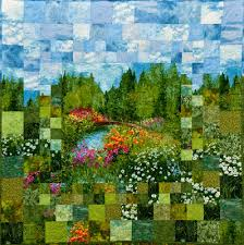 Quilt Inspiration: Monet's Garden: Impressionism and Quilting & ... Stewart for Michael Miller fabrics, using a solid fabric panel in the  center to portray the graceful bridge over the lake. The quilt is  constructed by ... Adamdwight.com