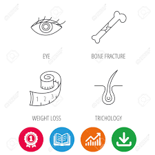 Bone Fracture Weight Loss And Trichology Icons Eye Linear Sign